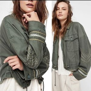 Free People Extreme Crop Military Jacket Green